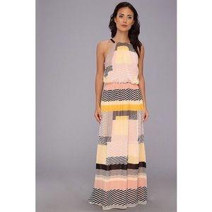 Vince Camuto Color Block Stripe Halter Maxi Dress